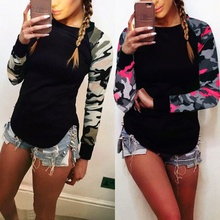 ZOGAA 2018 Long Sleeve Camouflage Print T-shirt Stitching Armygreen 5xl Women Shirt Casual female