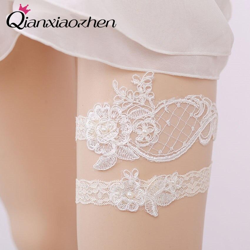 Garters Wedding: Qianxiaozhen 2pcs/set Flower Lace Leg Wedding Garter