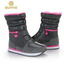 Новые стильные зимние сапоги для женщин хорошо выглядеть Буффи Марка Сапоги водонепроницаемые высокого качества однотонная зимняя обувь Бесплатная доставка