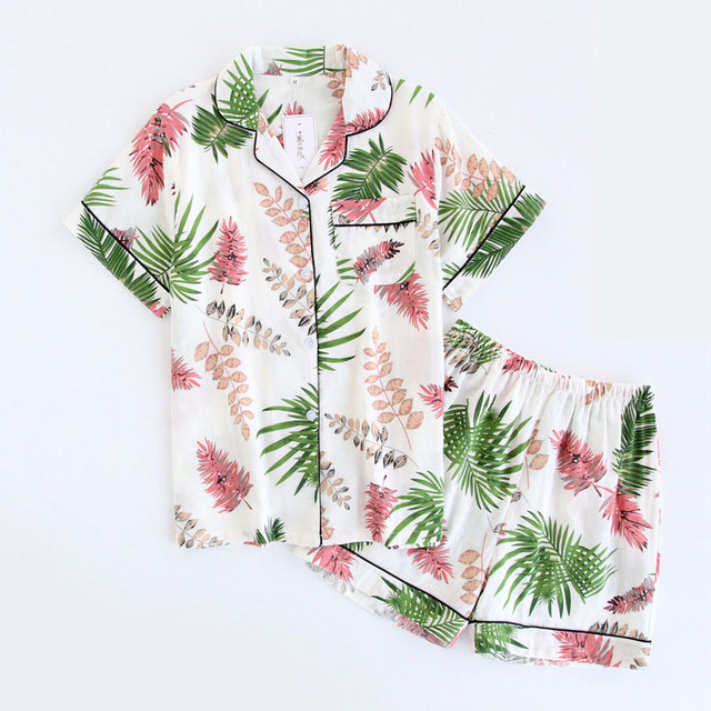ฤดูร้อนใหม่ชุดนอนชุดนอนแขนสั้นชุดนอนพิมพ์Pijama Mujerผ้าฝ้ายPijama Femmeเซ็กซี่ชุดนอนสบายๆชุดชั้นในชุดชั้นใน