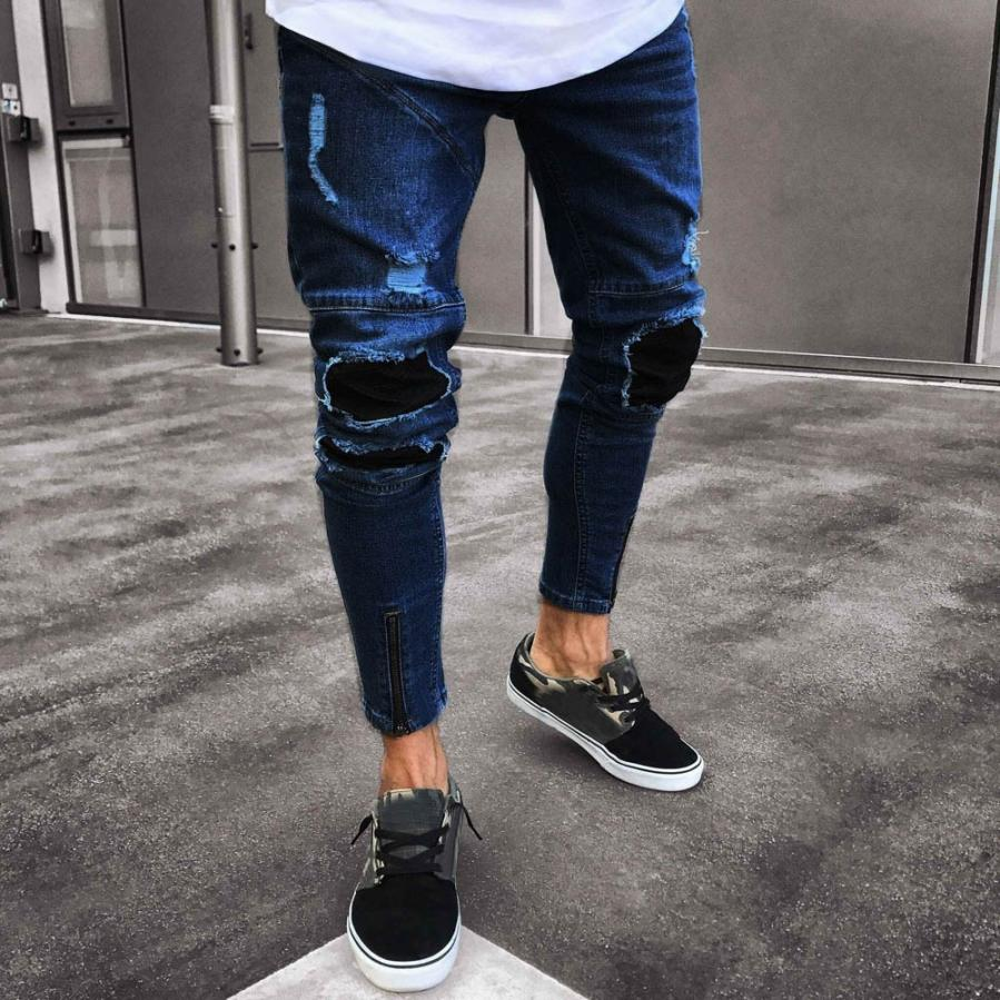 New Fashion Men Jeans Slim Biker Zipper Denim Skinny Frayed Casual Pencil Pants Distressed Rip Trousers Male Drop Shipping