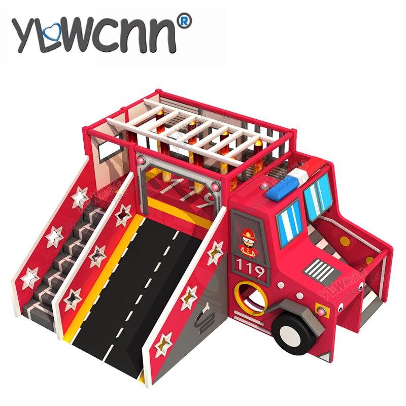Kids Soft Play Set Children Education Software Indoor Playground Combination PU Wooden Climbing Slide Cartoon Fire Car INA171083