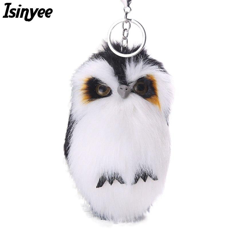 ISINYEE 2017 Cute Fluffy Owl KeyChains For Women Pluff Toy Doll Bag Car Key Ring Handmade Faux Bunny Rabbit Fur Pompoms Keychain