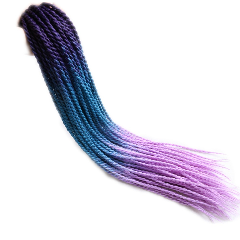 Desire for hair 10 packs 24 inch 100g 24 strands dip dye ombre green grey blue lilac color crocheted 2X Senegalese Twist braids