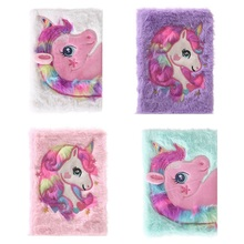 Cartoon Colorful Unicorn Plush Notebook