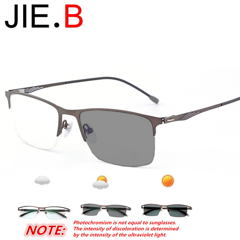 JIE B high quality titanium alloy frame finished myopia photochromic lens for men and women sunglasses lens multi purpose in Men 39 s Eyewear Frames from Apparel Accessories