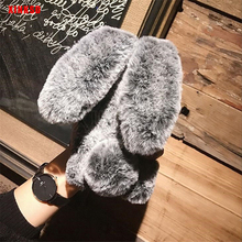 Fluffy Rabbit Fur Silicone Case For Xiaomi pocophone F1 MI A1 A2 8 lite MAX 3 pro Redmi 5 plus 6A S2 note 5 6 pro 4X 4 case