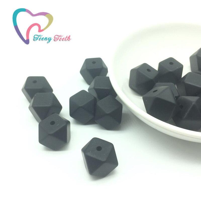 Teeny Teeth 5 PCS Black 14 MM Eco-friendly Hexagon Beads Baby Nursing Accessories Food Grade Silicone Teething DIY Crafts Beads