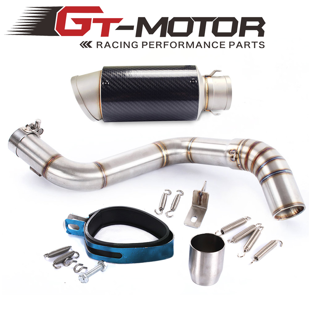 GT Motor - Motorcycle Exhaust middle pipe + Muffler for KTM DUKE150 DUKE200 DUKE250 DUKE390 2012-2014 Slip-On motorcycle stainless slip on exhaust mid pipe for ktm 390 duke 2013 2014 2015 2016