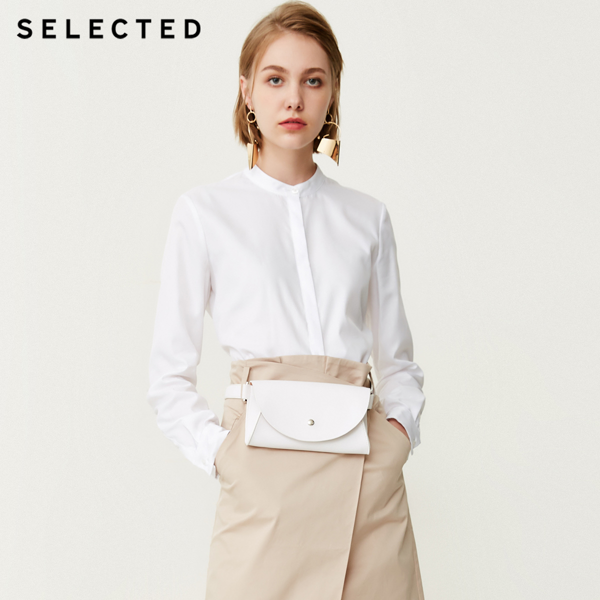 SELECTED Women s 100 Cotton Stand up Collar Shirt SIG 418305518