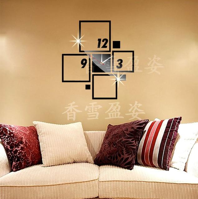3D diy mirror wall clocks creative squares vintage bedroom wall art ...