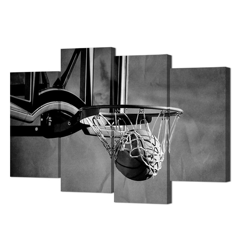 Noir et blanc sport toile thème Art mural peinture 4 panneau jeter Basket-ball dans le panier mur photos livraison directe