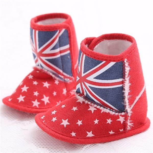 Chaud!!!Bébé arc chaussures semelle souple hiver chaud 11-13cm rouge aP5UI6s8