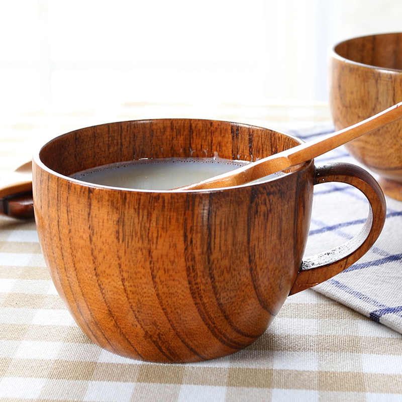 1Pc Wooden Cup Mug 200ml Tea Mug Natural Wood Coffee Mug Japanese Style Water Milk Drinking Cups And Mugs Wood Drinkware For Tea