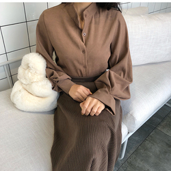 2018 new spring women chic vintage stand collar blouse elegant solid color lantern sleeve top female casual work shirts tops 4