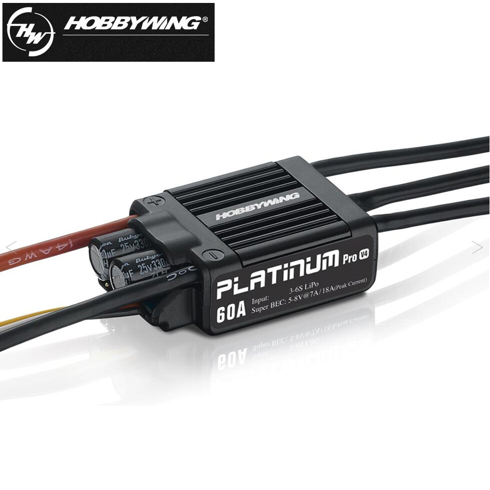 4pcs/lot Original HOBBYWING 60A 3-6S Electric Brushless Speed Controller (ESC) Platinum-60A V4 hobbywing platinum series v4 160a brushless electric speed controller esc for aircrafts high voltage esc