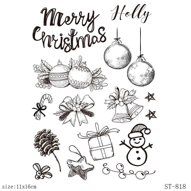 AZSG Christmas Fruit/Snowman/Bell Clear Stamps/Seals For DIY Scrapbooking/Card Making/Album Decorative Silicone Stamp Crafts