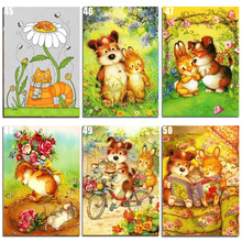 Peter ren DIY Diamond Painting Cross stitch Dog and Rabbit Cat Round mosaic full icons Embroidery Cartoon couple
