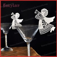 50pcs/lot Angel Name Place Cards Laser Cut Table Mark Wine Glass Cards Wedding Baby Shower Favor Party Decor