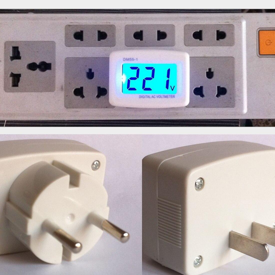 Voltage Tester 1PC LCD AC 110V 220V Digital Voltmeter Volt Monitor Household AC Panel Meter EU Plug 80-300V Blue Backlight