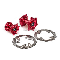 Motorcycle Billet Red Front Rear Wheel Hubs W Brake Disc Rotors For Honda CR125 CR250 2002