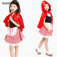 HUIHONSHE Girls Little Red Riding Hood Costume Fairy Tales Clothes Cute Suits Female Children Halloween Kids
