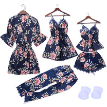 5 PCS Cami Shorts Nighty Pants Robe Lace Sexy Lingerie Nightwear Pajamas Satin Sleep Set Nightwear
