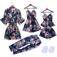 5 PCS Cami&Shorts&Nighty&Pants&Robe Lace Sexy Lingerie Nightwear Pajamas Satin Sleep Set Nightwear Negligee Sleepwear Pyjama