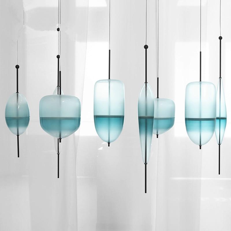 Modern Pendant Lamps Lustres LED Glass pendant light Venice Flow T Lake Blue gradient hanging lamp Home Lighting Fixture the glass lake