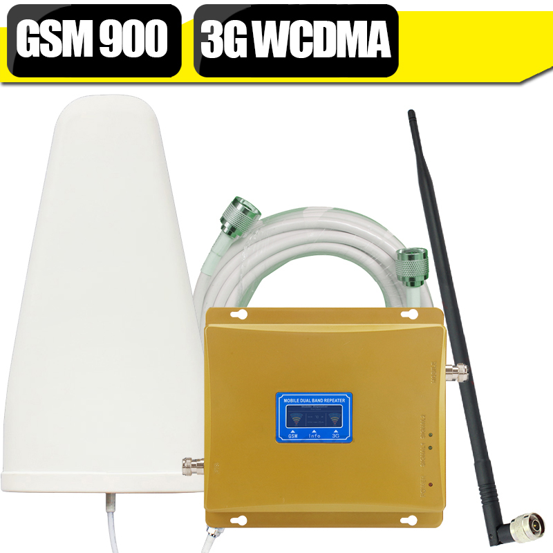 LCD Display GSM Repeater 3G GSM 900mhz Mobile Cellular Signal Booster Repeater WCDMA 2100mhz 3G Cell Phone Amplifier Set