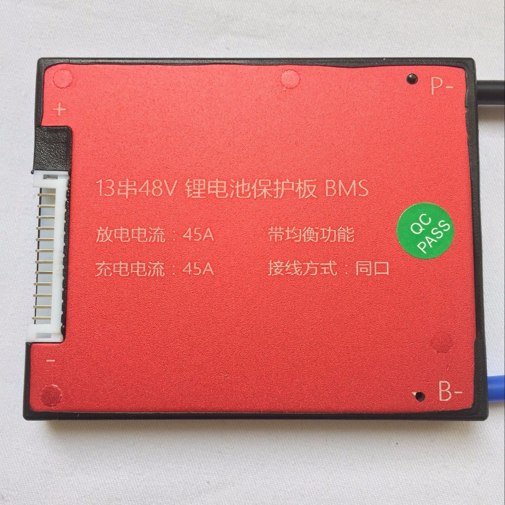 Waterproof 13s 48V 45A lithium lipo battery bms pcb pcm battery management system for Electric vehicle 13s 48v electric vehicle power lithium battery protection plate bms belt equalization charging and discharging current 18a