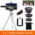 Высокое Качество 5in1 Камеры Телефона Линзы Комплект 3in1 Рыбий Глаз Широкоугольный Макро объектив Мини-Штатив Для iPhone 6 s 7 Плюс Sumsung S5 S6 S7