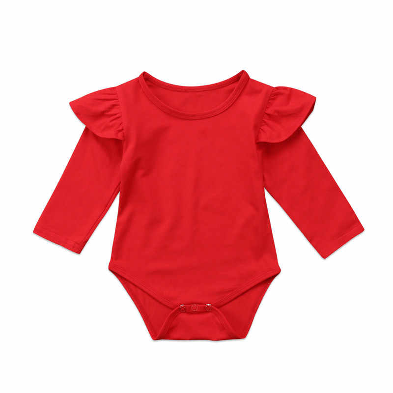 Pudcoco Newborn Baby Girls winter Bodysuit solid Red color cotton Jumpsuit Outfit Clothes Long flying Sleeve Bodysuit for baby