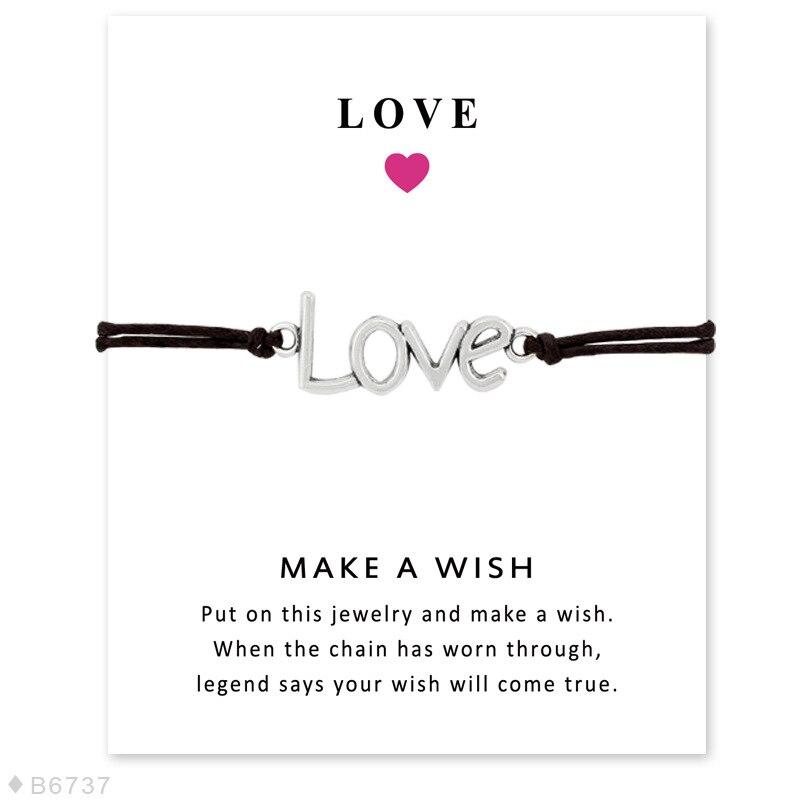 Heart Charm Bracelets Wish Wax Rope Bracelets Fashion Lady Jewelry Gift For Lover Family Wish Card Bracelets