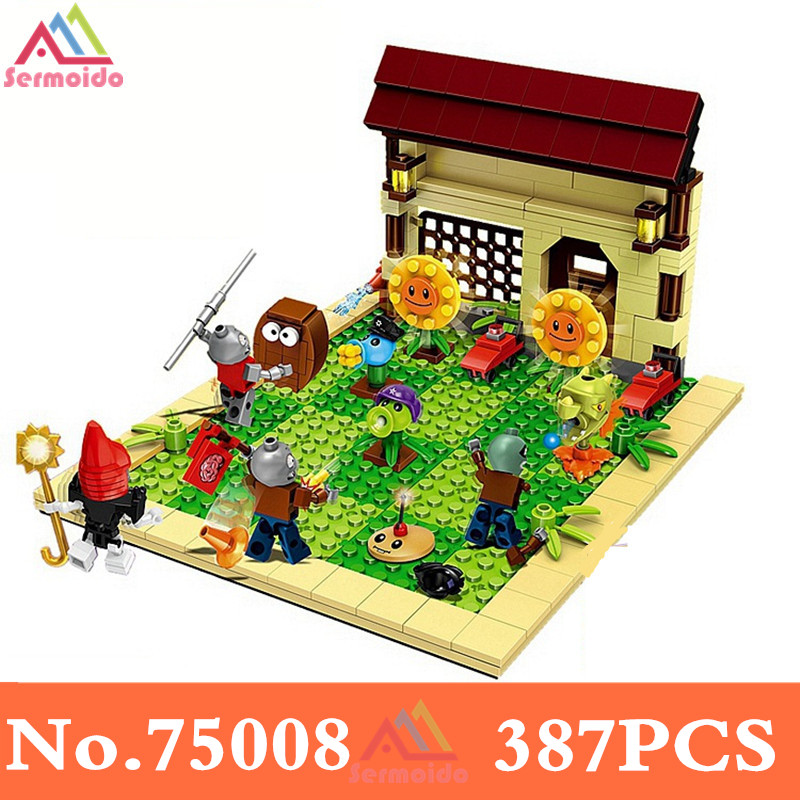 sermoido 387PCS Plants vs Zombies Military Weapon tToy Struck Game Building Blocks Anime Figures Toys For Children Gifts DBP163 52pcs set plants vs zombies pvz collection figures toy all the plants and zombies figure toys free shipping