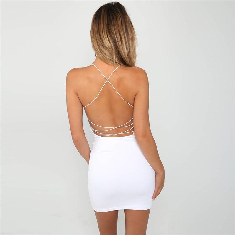 d69f4d370d 2018 Summer Dress Backless Hollow Out Sexy Party Short Dresses White Black  Beachwear lace up bodycorn dress sundress robe ete
