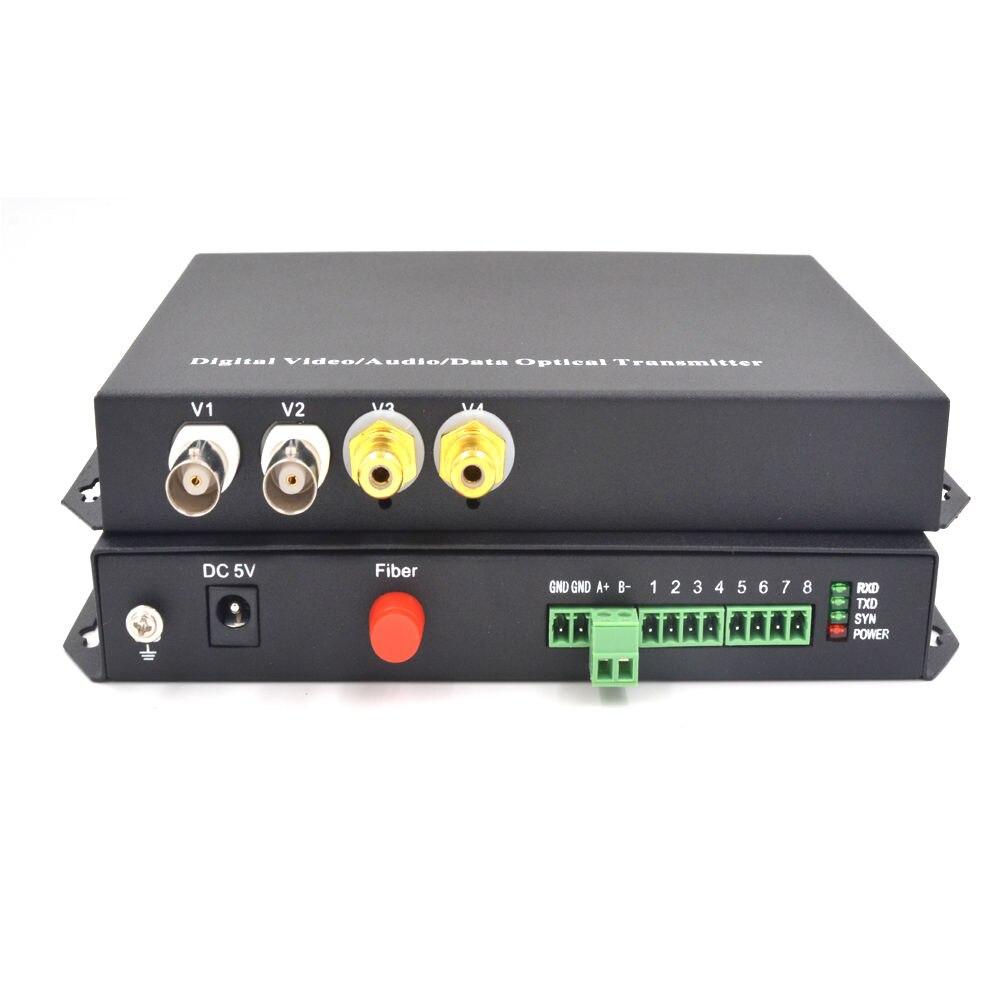 2CH Video+ 2CH Audio + Data Fiber Optical Media Converters SM 20Km