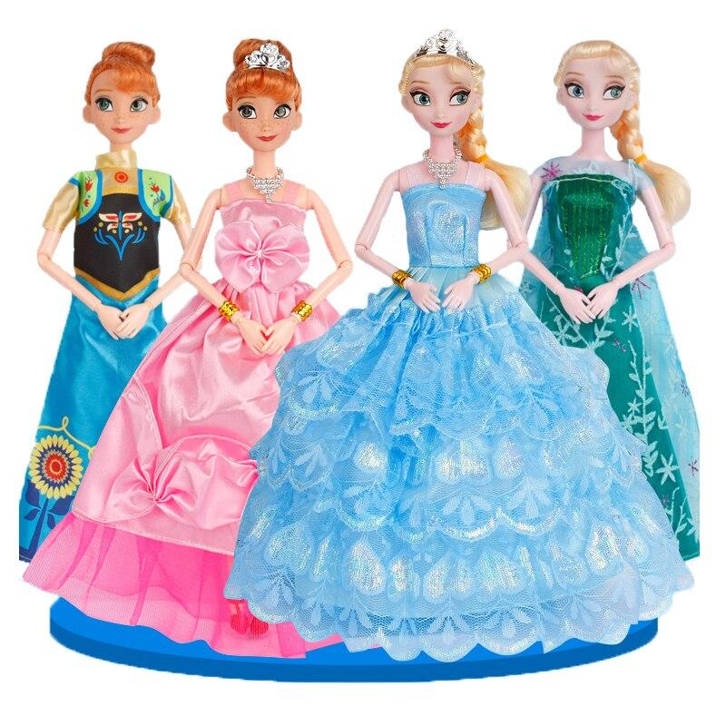 Disney 29 cm Principessa Giocattoli Ghiaccio e Neve Bambole Congelati Elsa Anna Principessa Regalo Bambola della Ragazza del Giocattolo per Natale Compleanno regalo