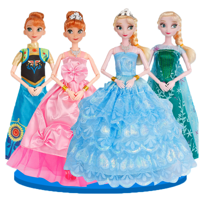 Disney 29cm Princess Toys Ice and Snow Dolls Frozen Elsa Anna Princess Doll Gift Box Girl Toy for Christmas Birthday Gift