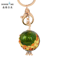 Fashion Opal Pomegranate Keychain Rhinestones Metal Key Chain Trinket Pendant For Women Charm Bag Accessories Keyring