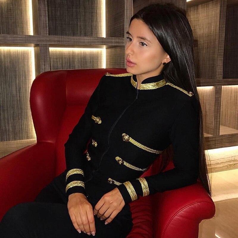 Ocstrade Femmes Automne Mode 2019 Fête De Noël De Haute Qualité Vert Plus La Taille Élégante Manches Longues Bandage Veste Moulante - 3
