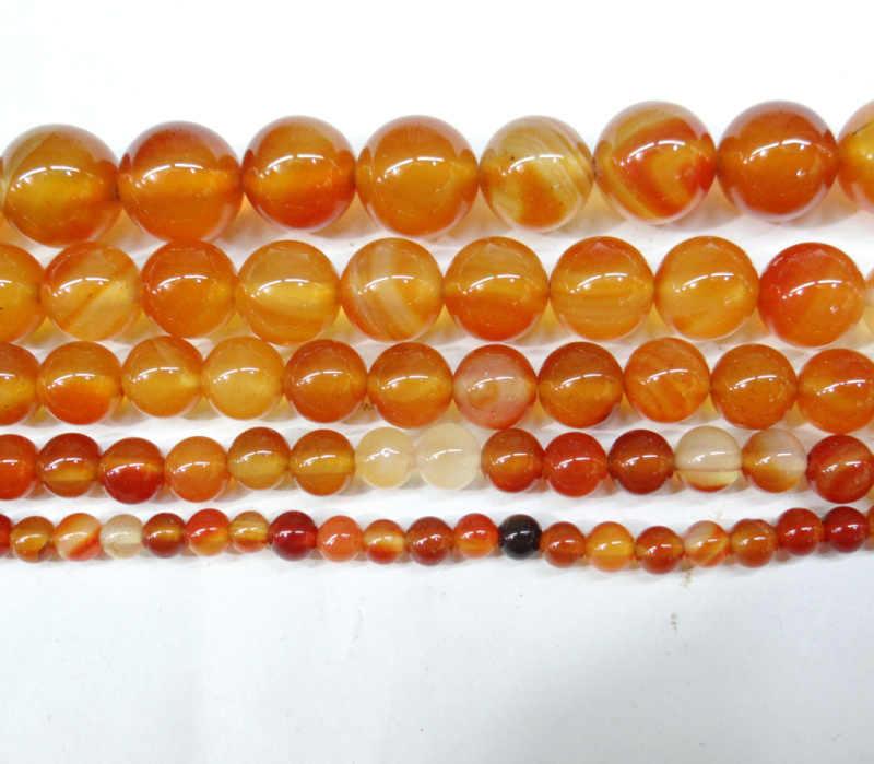Bán buôn Đá Tự Nhiên Màu đỏ Cam Agat Chalcedony Hạt Tròn 4 6 8 10 12 MM DIY Char Vòng Tay Dây bộ trang sức Làm