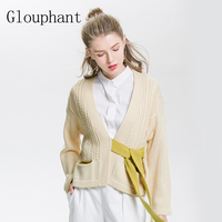 Glouphant Contrast Wool Bandage Women Sweater Winter Clothes Dropped Shoulder Loose Knitted Women Cardigans Pull Femme
