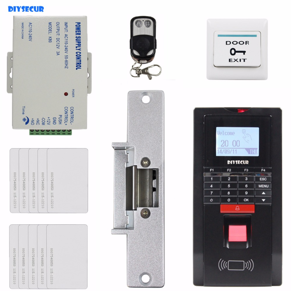 DIYSECUR Remote Control Fingerprint Id Card Reader Password Keypad Door Access Control System + Strike Lock For Office / House usb pos numeric keypad card reader white