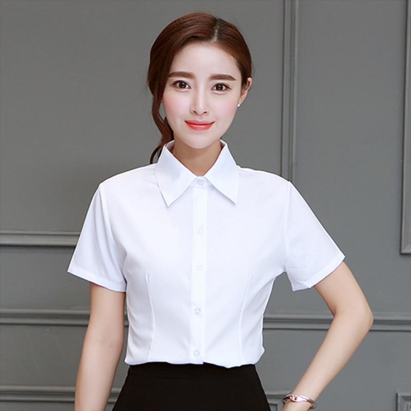 Shirt Womens Chiffon Tops And Blouses Short Sleeve Elegant Lapel Office Lady Blouse Temperament Summer Shirt Clothing