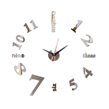 2017 hot sale wall clock acrylic mirror digital wall clocks needle quartz watch diy clock modern design living room 3d stickers