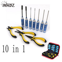 Tool set 10in 1 RC Tools Kits Box Set Screwdriver Pliers Hex Repair for Helicopter Multirotors