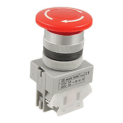 1 NC N/C Red Sign Mushroom Push Button Emergency Stop Switch 2 Screw Terminals