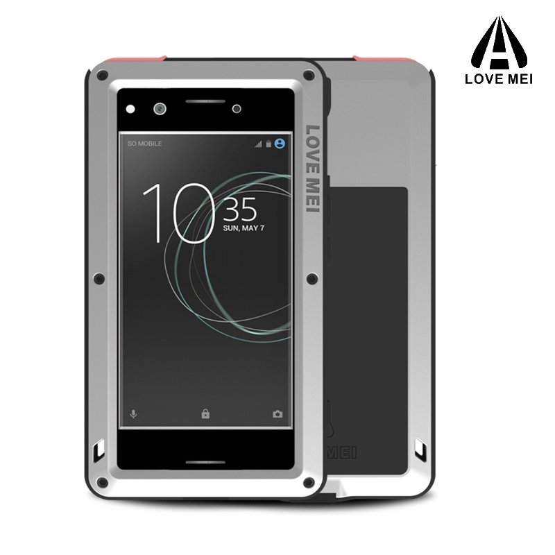 Love mei Aluminum Metal Cover For <font><b>SONY</b></font> Xperia <font><b>XZ</b></font> Premium Cases Armor Shockproof + Gorilla Glass Full Body Phone Cover 5.5inch