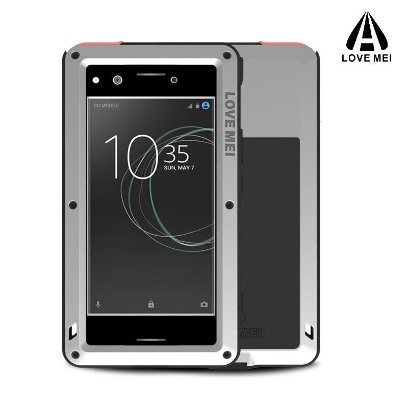 Love mei couvercle en aluminium en métal pour SONY Xperia XZ étuis Premium armure antichoc + Gorilla verre housse de téléphone complet 5.5 pouces